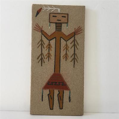 Native American Indian Navajo Artist Signed Sand Art Painting YEI BEI CHI