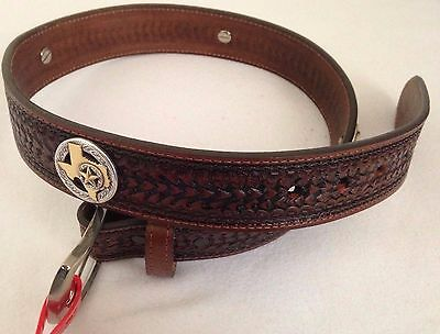 Leather Western Style Buckle Belt Brown Texas State Star Design