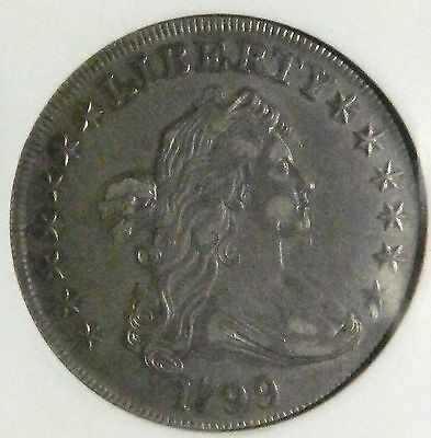1799 $1 DRAPED BUST SILVER DOLLAR  ANACS XF45 OLD HOLDER, Looks AU!
