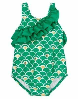 NWT Gymboree Swimsuit Green Shell 12 18 24 mo 2T 3T 4T 5T Toddler Girls