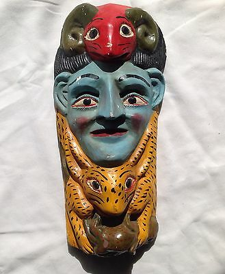 Antique Bark Mask Animals Blue Face Ram Jaguar Lizard Mayan South American ?