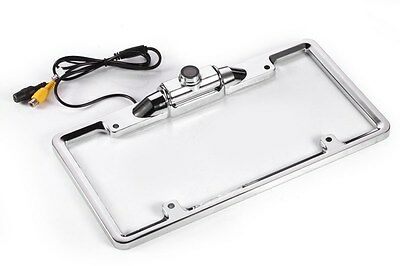 Chrome License Plate Frame Color Rear View Camera Back up Reverse Mirror Image