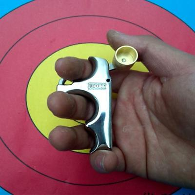 Archery Kit Release Aids 3 Finger Grip Steel Gear For Compound Recurve Long Bow