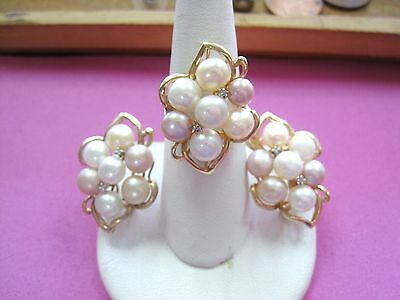 GORGEOUS Vintage 14k Yellow Gold Pearl Ring sz6.25 & Earrings Set Diamond accent