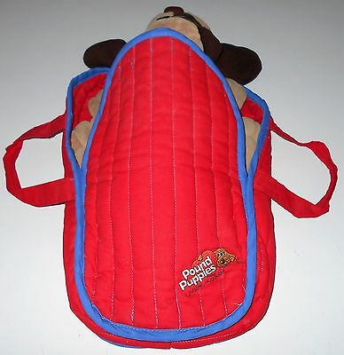 Vintage POUND PUPPY/PUPPIES BACKPACK Red Quilted Fabric