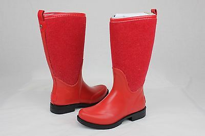 Ugg Reignfall Wool Synthetic Red Tall Rain Boots Size 5 US