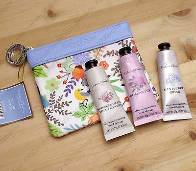 SALE! crabtree & evelyn travel size hand cream 3pc set with blue bird zip bag