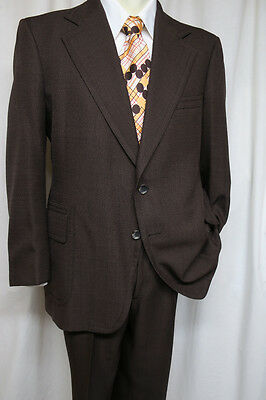 MARX MADE Marx-Haas Clothing Vintage 70s Brown Suit 2 button 46R DISCO