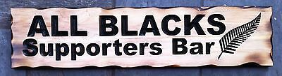 ALL BLACKS Supporters Bar Rustic Pine Timber Sign