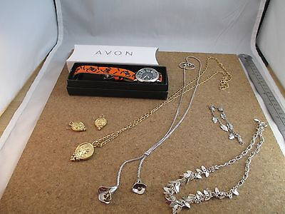 Avon Jewelry Lot Estate Collection Watch in Box Necklaces Bracelet Earrings
