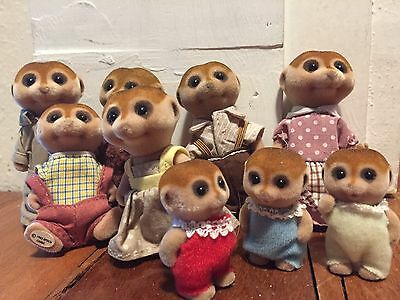 Sylvanian Families Meercats Extended Family 9 Members Ex. Used Condition