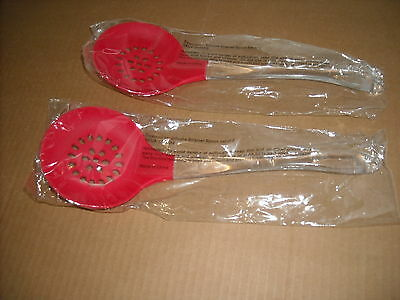 Lot of 10 Large Silicone Strainer Spoons Red Acrylic Handles