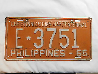 Philippines License Plate 1965 Christianizations 4Th Centennial Vintage Original