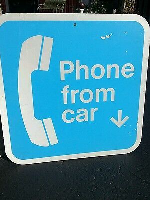 Vintage Retired Telephone Phone from car sign