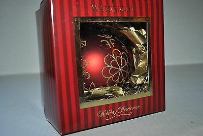 NEW WATERFORD Holiday Heirloom FLOWER BURST BALL Ornament RED Gold Bejeweled