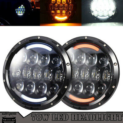 7 Inch 78W Round Projector LED Headlights w/ DRL For Jeep 97-2016 Wrangler JK TJ