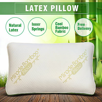 Bamboo Pillow X1 Natural Latex with Anion Jacquard Fabric Cover Innerspring Cool