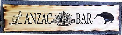 ANZAC BAR Rustic Pine Timber Sign