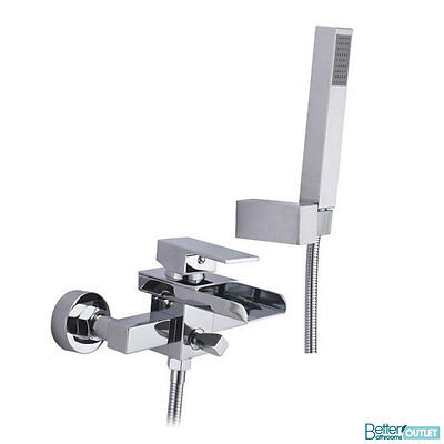 Modern Wall Mounted Bath Shower Mixer Tap Solid Brass Chrome Bathroom