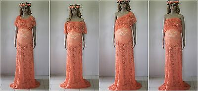 2 in 1 Lace Maternity Dress Gown - Photography Photo Prop - Size 8-18 - Apricot