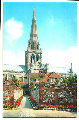 Old Postcard Chichester Cathedral From St. Richard`s Walk, Posted 1995, Slogan