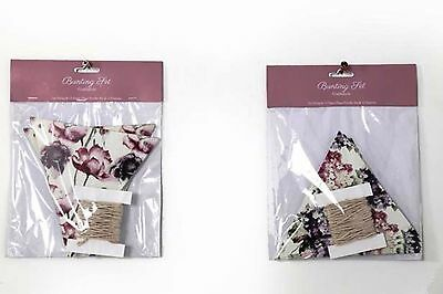 DIY Pennant garland Flowers Purple Pennant Garland Country house Nostalgia chic