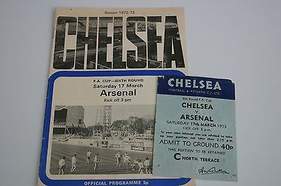 Chelsea v Arsenal Programme + Ticket Stub FA Cup 6th Round 17/03/1973