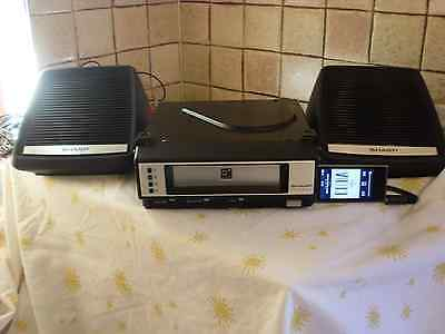 vintage Sharp car 8 track cassette player, with mp3 input / ipod + speakers