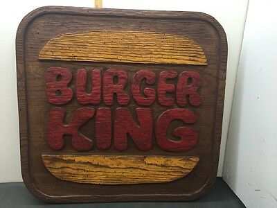 """1970's Large Burger King Store Sign Composite 32"""" By 31"""" Rare Vintage"""