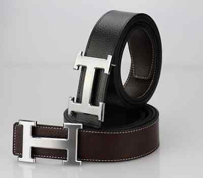 Brown silver buckle Smooth leather belt buckle H type buckle leather waistband