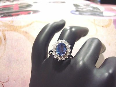 BAGUE EN OR BLANC 14 CARATS 585/000 TANZANITE & DIAMANTS 4.00 grs T 54 D17279
