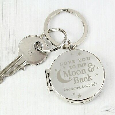 Personalised I Love You To The Moon And Back Photo Keyring Locket Gift Mum Daddy