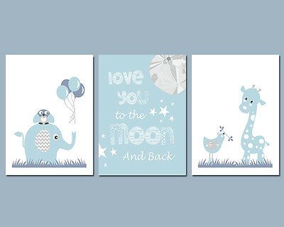 3 Wall Art Nursery Prints Baby Boy Love You To The Moon And Back Blue & Grey