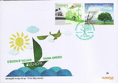 Armenia 2016 FDC New postage stamps dedicated to Europa 2016 Think green