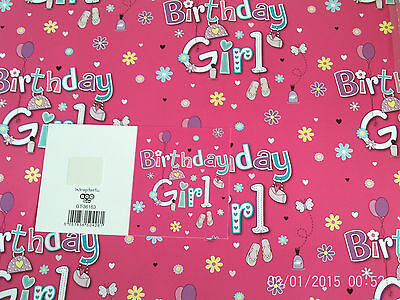New Girls Pink Birthday Girl Birthday Wrapping Paper 2 Sheets+1 Gift Tag