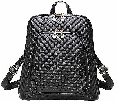 Coolcy New Fashion Women's Genuine Leather Backpack Casual Shoulder Bag Black