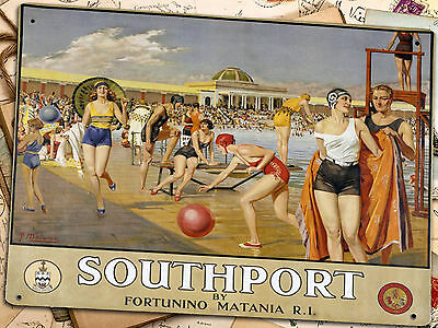 BRITISH RAIL  SOUTHPORT Poster Print On Metal Sign Vintage Railway Wall Plaque
