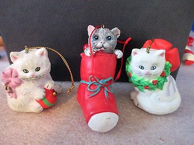 Lot of 3~KITTY CAT CHRISTMAS ORNAMENTS~2 White Kitties and 1 in a Stocking