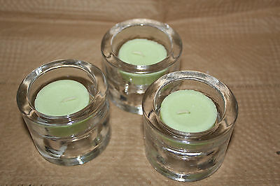 "Party Lite Set of 3 Clear round candle holders elegant trio new In Box 2.5"" tall"