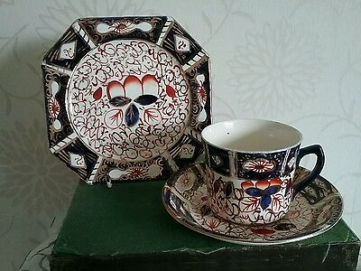 Arthur Wood Imari Gaudy Welsh Trio Cup & Saucer & Plate Royal Crown Derby Style