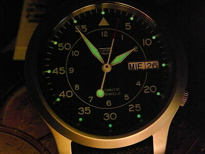 New Japan 37Mm Seiko 5 Army 21 Jewels 7S26-02J0 Automatic Date Mens Watch
