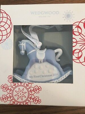 Wedgwood Jasperware Blue Baby's First Christmas Rocking Horse Ornament 2016