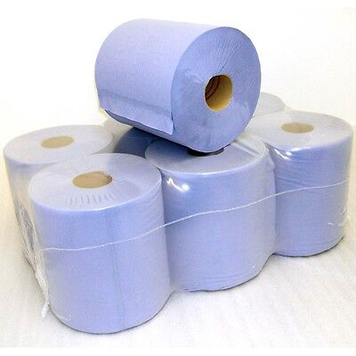 BLUE ROLLS 2Ply Centrefeed Rolls Paper Hand Towels Kitchen Tissue Catering Wipes