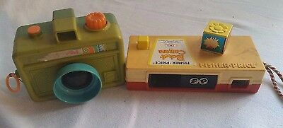 Vintage Fisher Price & Mattel Pocket Instamatic Camera And Pull String Camera