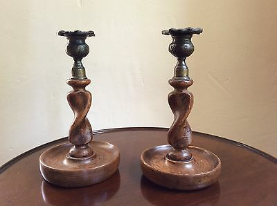 A Vintage Pair Of Twisted Elm Candle Sticks