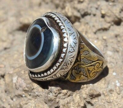 tibet dzi Vintage Antique Eye Agat Gold Plated Silver Sulemani Aqeeq Ring 8.75US