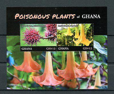Ghana 2016 MNH Poisonous Plants 2v S/S II Castor Oil Plant Flowers Stamps