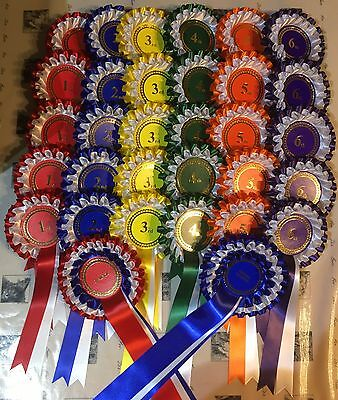 Complete show pack:Either 5 or 10 sets of 1st-6th 2 tier rosettes FREE 1st Class