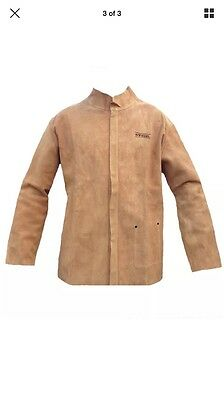 Premium Beige Leather Welders Jacket -CE CERTIFIED - Kevlar Stitched-EXTRA LARGE