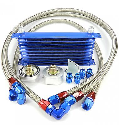 10 Row Oil Cooler Retrofit Kit / Set Incl. Adapter Blue Universal Aluminium